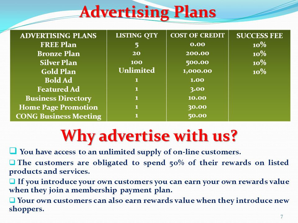 ADVERTISING PLANS FREE Plan Bronze Plan Silver Plan Gold Plan Bold Ad Featured Ad Business Directory Home Page Promotion CONG Business Meeting LISTING