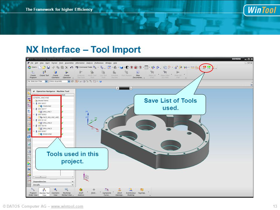 13© DATOS Computer AG – www.wintool.com The Framework for higher Efficiency NX Interface – Tool Import Tools used in this project.