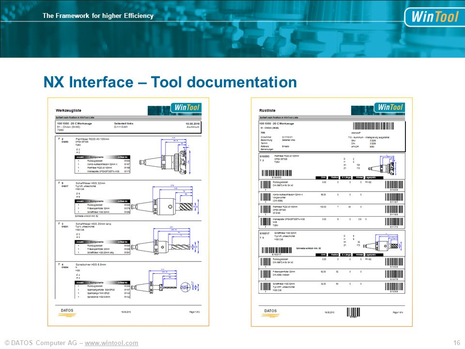 16© DATOS Computer AG – www.wintool.com The Framework for higher Efficiency NX Interface – Tool documentation