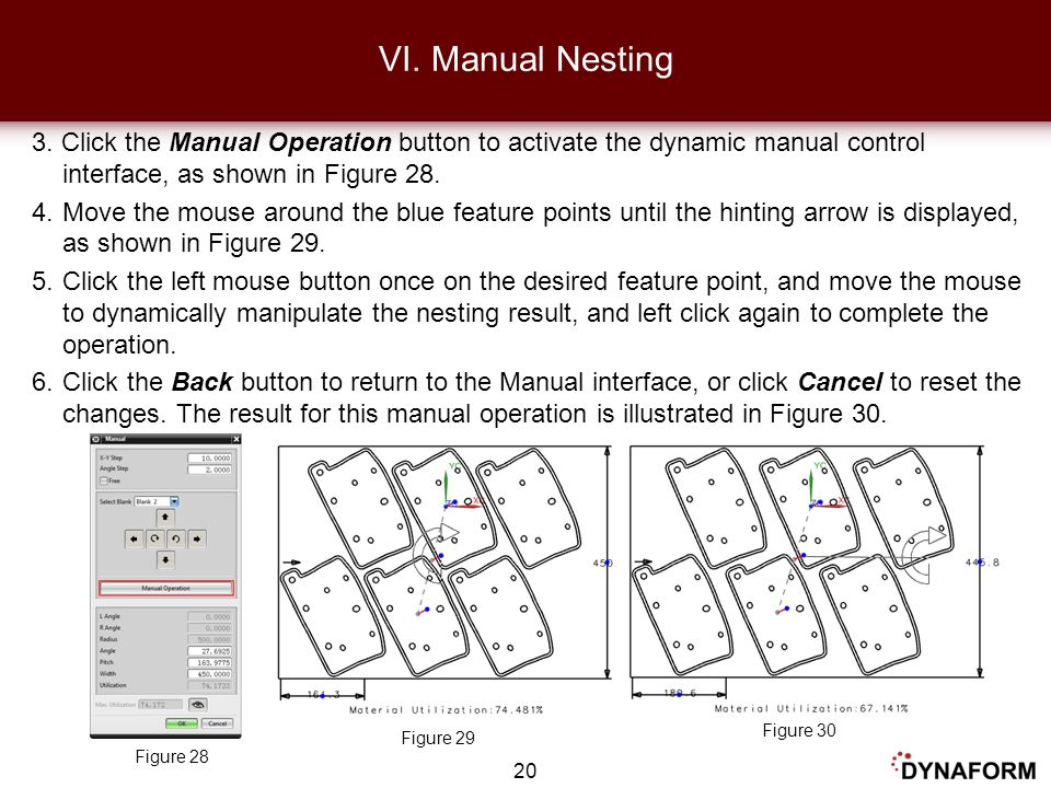 3. Click the Manual Operation button to activate the dynamic manual control interface, as shown in Figure 28. 4.Move the mouse around the blue feature