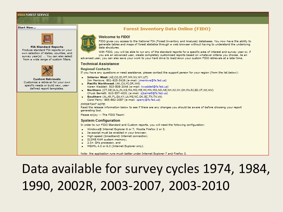 Data available for survey cycles 1974, 1984, 1990, 2002R, 2003-2007, 2003-2010