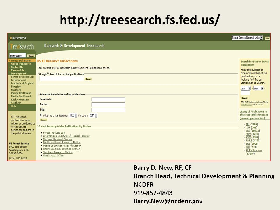 http://treesearch.fs.fed.us/ Barry D.