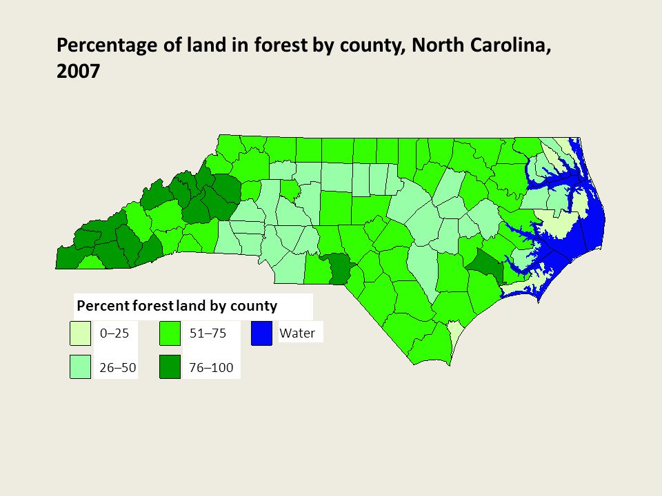 0–25 26–50 51–75 76–100 Water Percent forest land by county Percentage of land in forest by county, North Carolina, 2007