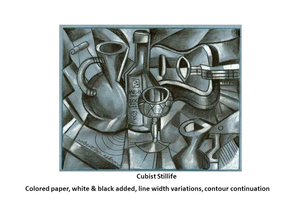 Cubist portrait Large areas filled with value, white & black lines, fractured image
