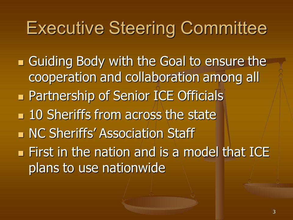 3 Executive Steering Committee Guiding Body with the Goal to ensure the cooperation and collaboration among all Guiding Body with the Goal to ensure the cooperation and collaboration among all Partnership of Senior ICE Officials Partnership of Senior ICE Officials 10 Sheriffs from across the state 10 Sheriffs from across the state NC Sheriffs' Association Staff NC Sheriffs' Association Staff First in the nation and is a model that ICE plans to use nationwide First in the nation and is a model that ICE plans to use nationwide