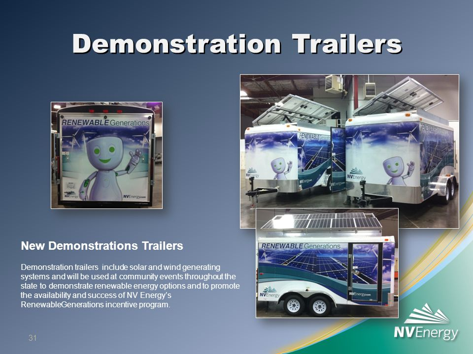 Demonstration Trailers 31 New Demonstrations Trailers Demonstration trailers include solar and wind generating systems and will be used at community e