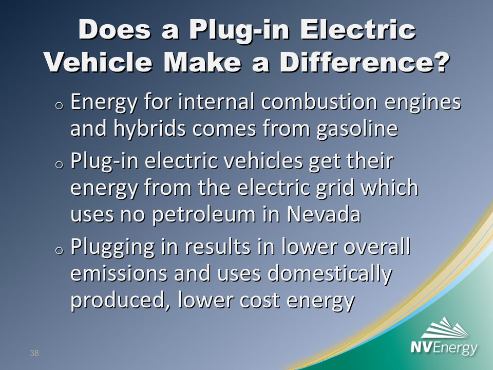 Does a Plug-in Electric Vehicle Make a Difference? o Energy for internal combustion engines and hybrids comes from gasoline o Plug-in electric vehicle