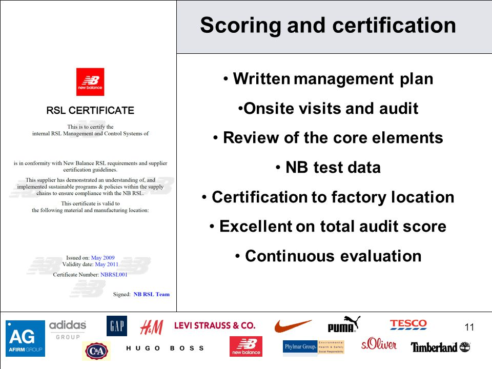 11 Scoring and certification Written management plan Onsite visits and audit Review of the core elements NB test data Certification to factory location Excellent on total audit score Continuous evaluation