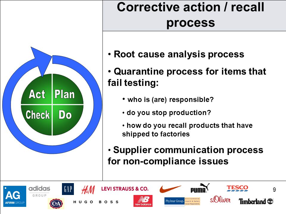 9 Corrective action / recall process Root cause analysis process Quarantine process for items that fail testing: who is (are) responsible.