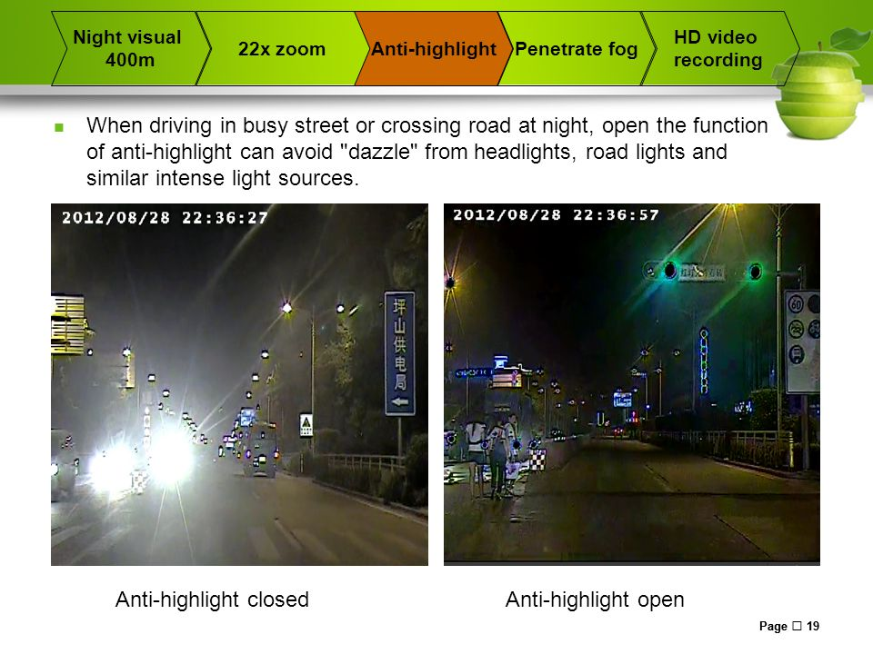 Page  19 When driving in busy street or crossing road at night, open the function of anti-highlight can avoid dazzle from headlights, road lights and similar intense light sources.