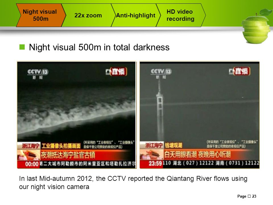 Page  23 22x zoomAnti-highlight Night visual 500m HD video recording Night visual 500m in total darkness In last Mid-autumn 2012, the CCTV reported the Qiantang River flows using our night vision camera