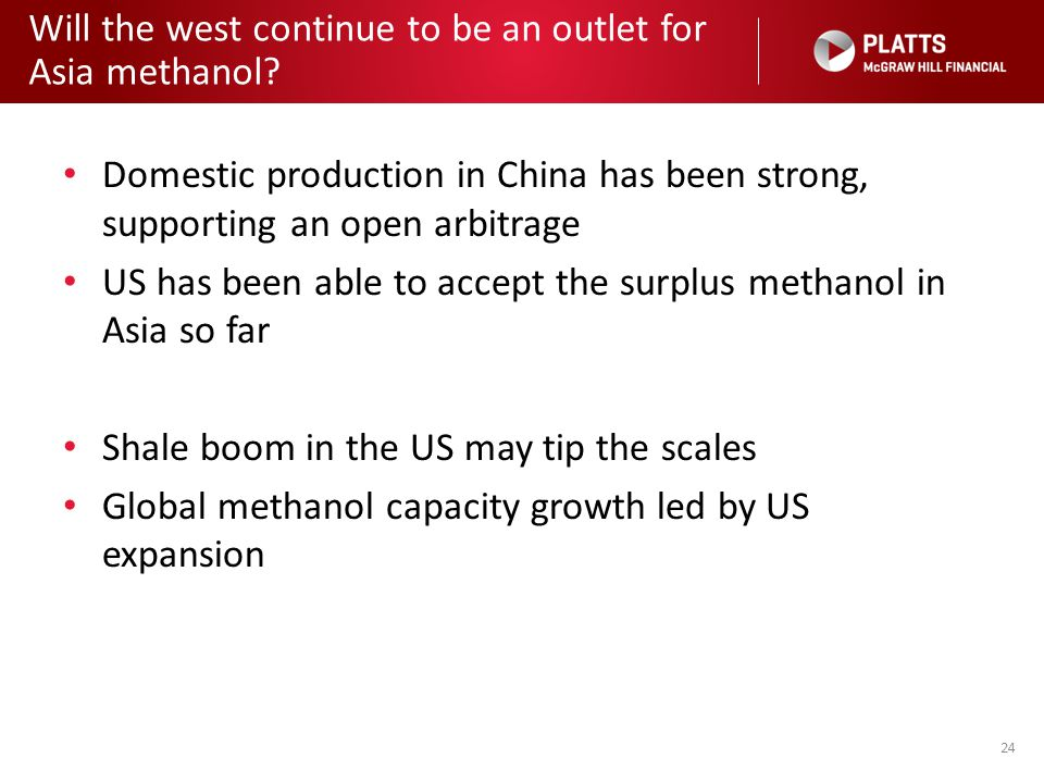 Will the west continue to be an outlet for Asia methanol? 24 Domestic production in China has been strong, supporting an open arbitrage US has been ab