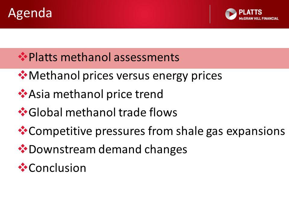 Agenda  Platts methanol assessments  Methanol prices versus energy prices  Asia methanol price trend  Global methanol trade flows  Competitive pr