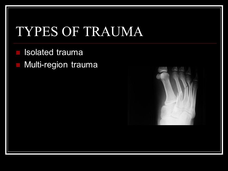 TYPES OF TRAUMA Isolated trauma Multi-region trauma