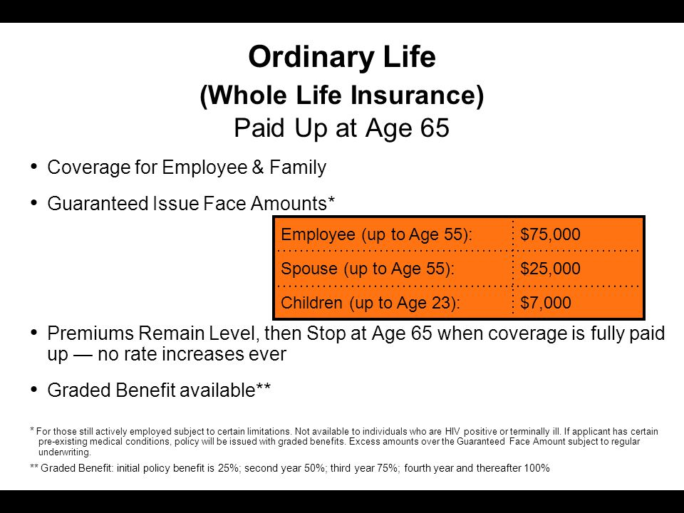 Ordinary Life (Whole Life Insurance) Paid Up at Age 65 Coverage for Employee & Family Guaranteed Issue Face Amounts* Premiums Remain Level, then Stop at Age 65 when coverage is fully paid up — no rate increases ever Graded Benefit available** Employee (up to Age 55):$75,000 Spouse (up to Age 55):$25,000 Children (up to Age 23):$7,000 * For those still actively employed subject to certain limitations.