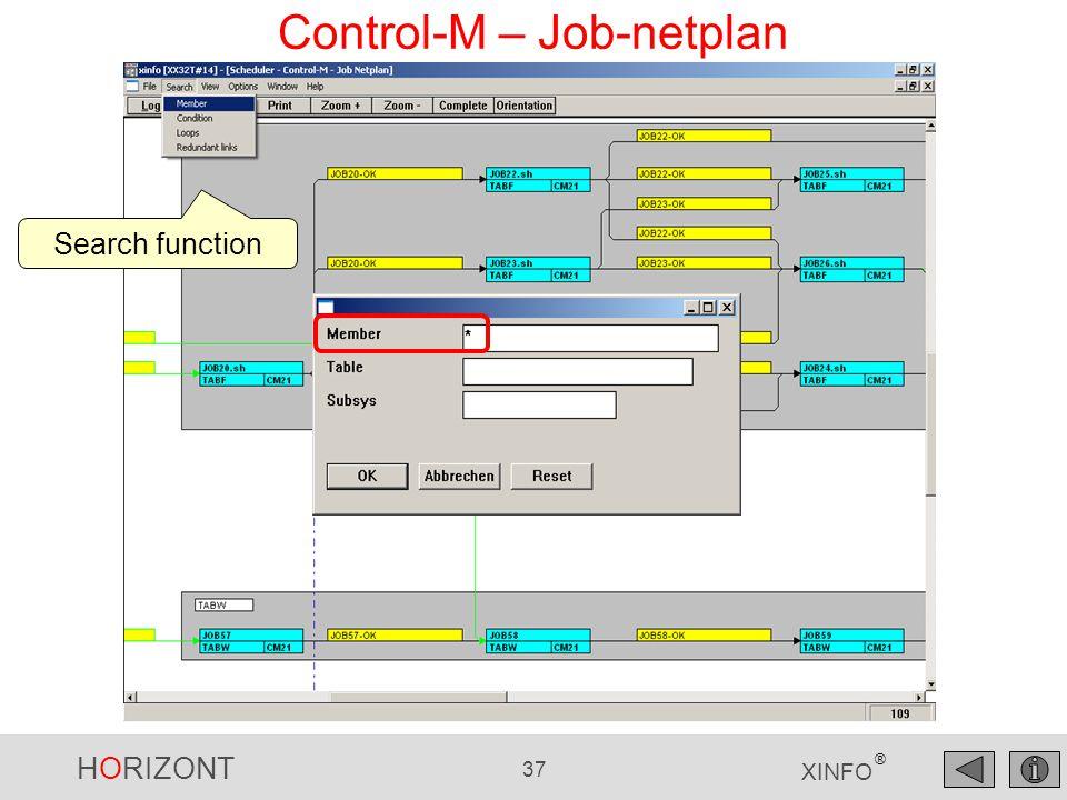 HORIZONT 37 XINFO ® Control-M – Job-netplan Search function