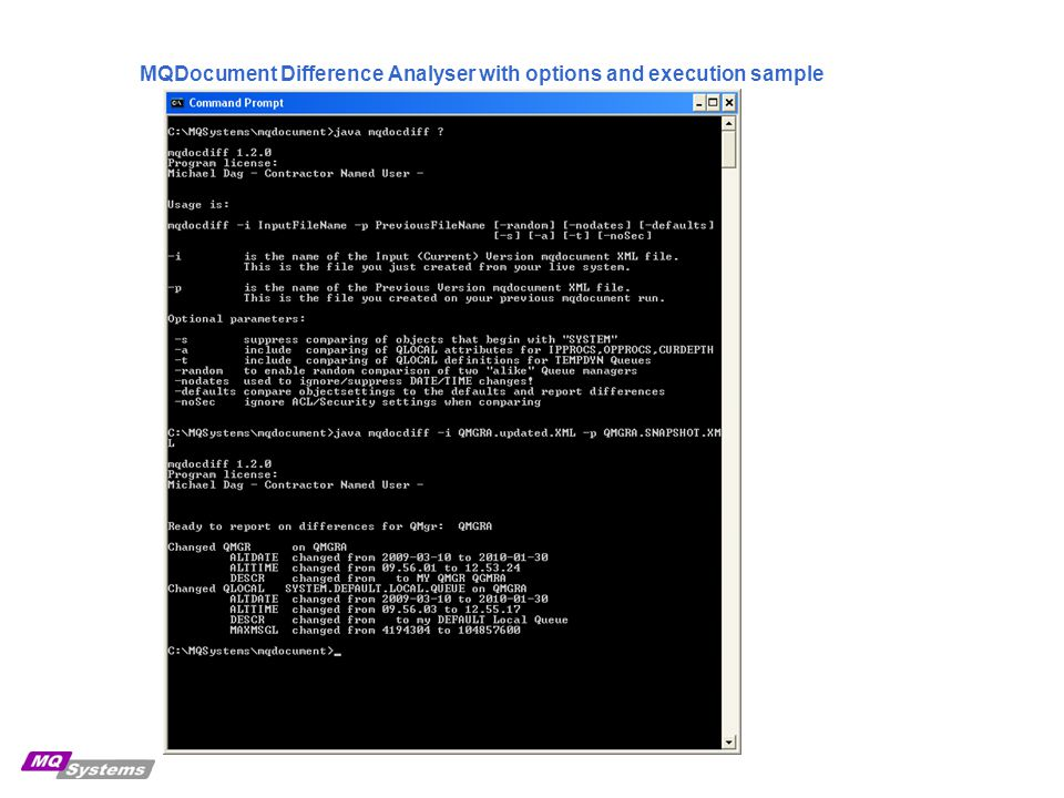 MQDocument Difference Analyser with options and execution sample