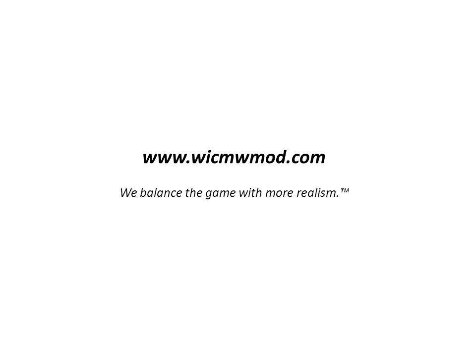 www.wicmwmod.com We balance the game with more realism.™