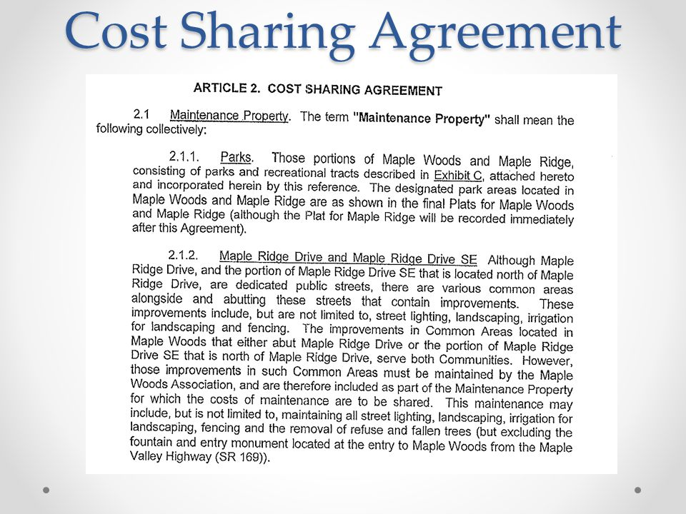 Cost Sharing Agreement