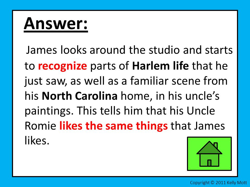 Answer: James looks around the studio and starts to recognize parts of Harlem life that he just saw, as well as a familiar scene from his North Caroli