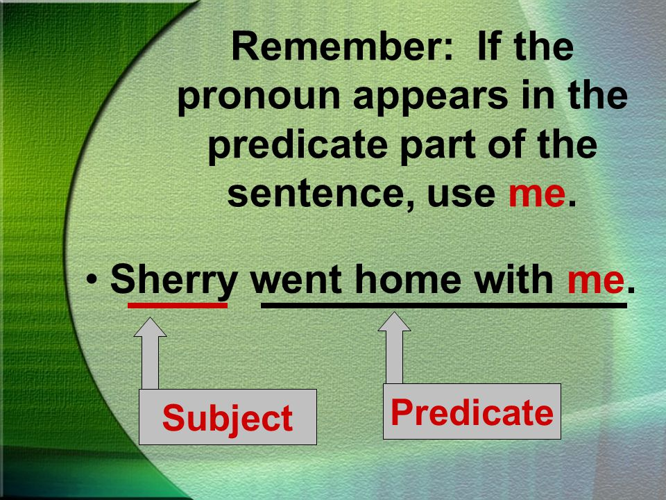 Remember: If the pronoun appears in the subject of a sentence, use I.