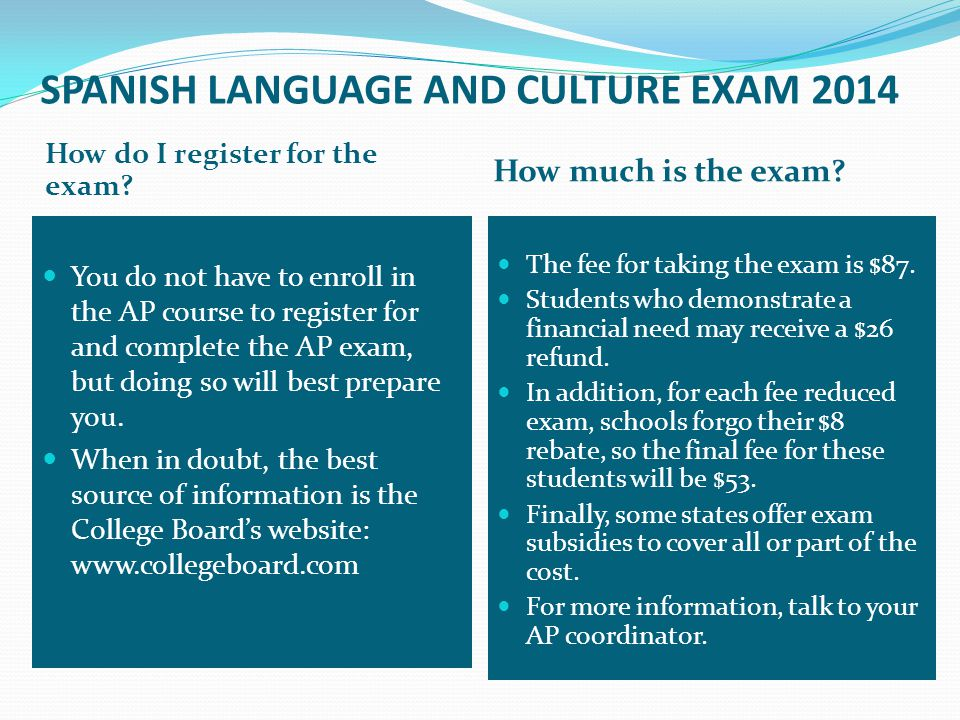 SPANISH LANGUAGE AND CULTURE EXAM 2014 SECTION I = MULTIPLE CHOICE PART A INTERPRETIVE COMMUNICATION: Printed Texts.