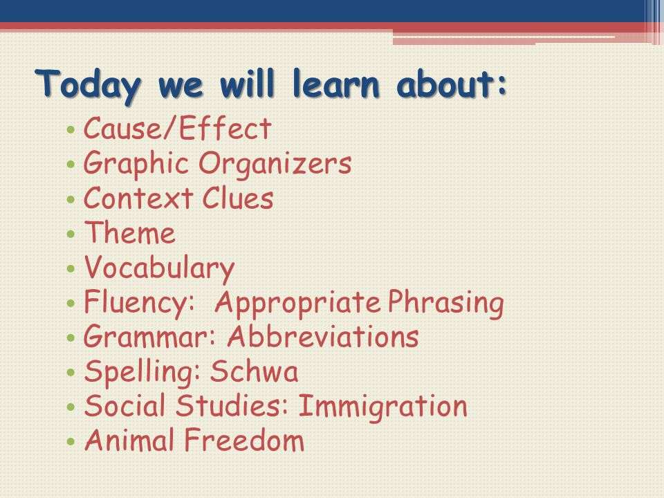 Today we will learn about: Cause/Effect Graphic Organizers Context Clues Theme Vocabulary Fluency: Appropriate Phrasing Grammar: Abbreviations Spellin