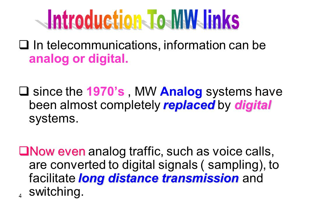 5  Terrestrial MW systems have been used since the 1950's( wartime radar technology).