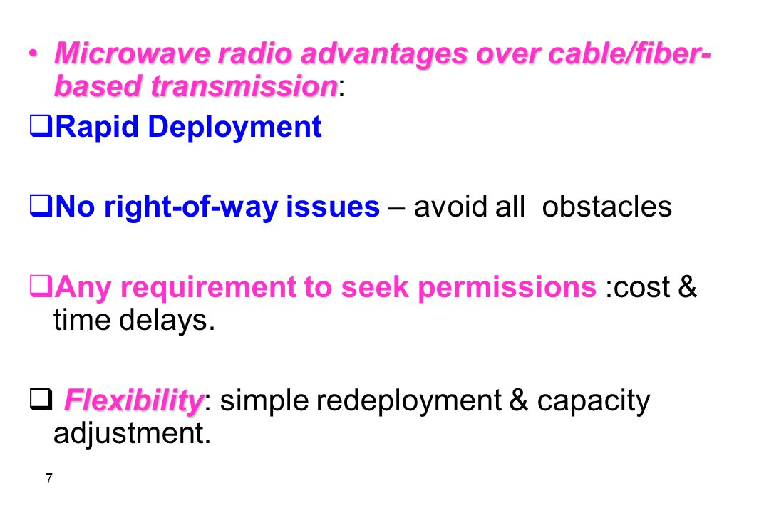 18 important characteristicTwo very important characteristic of digital MW transmission is: A- immunity to noise B- the ability of the radio to operate in the presence of adverse environmental conditions.