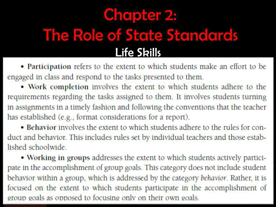Chapter 2: The Role of State Standards Life Skills