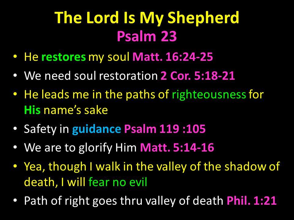 The Lord Is My Shepherd Psalm 23 He restores my soul Matt.