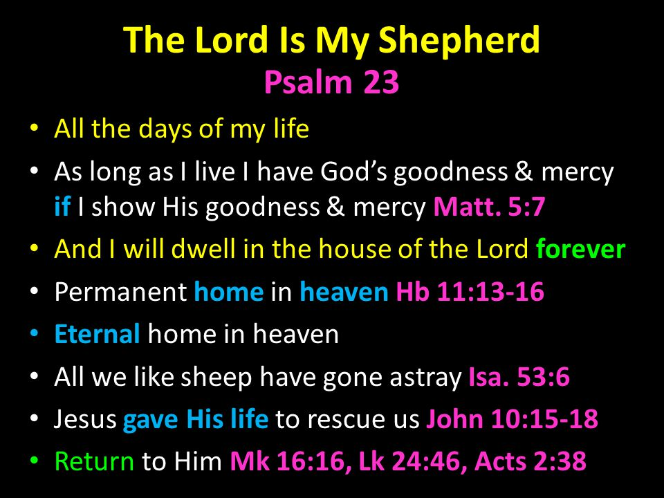 The Lord Is My Shepherd Psalm 23 All the days of my life As long as I live I have God's goodness & mercy if I show His goodness & mercy Matt.