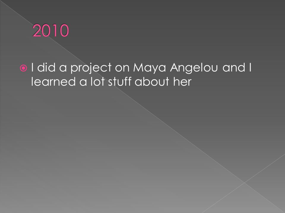  I did a project on Maya Angelou and I learned a lot stuff about her