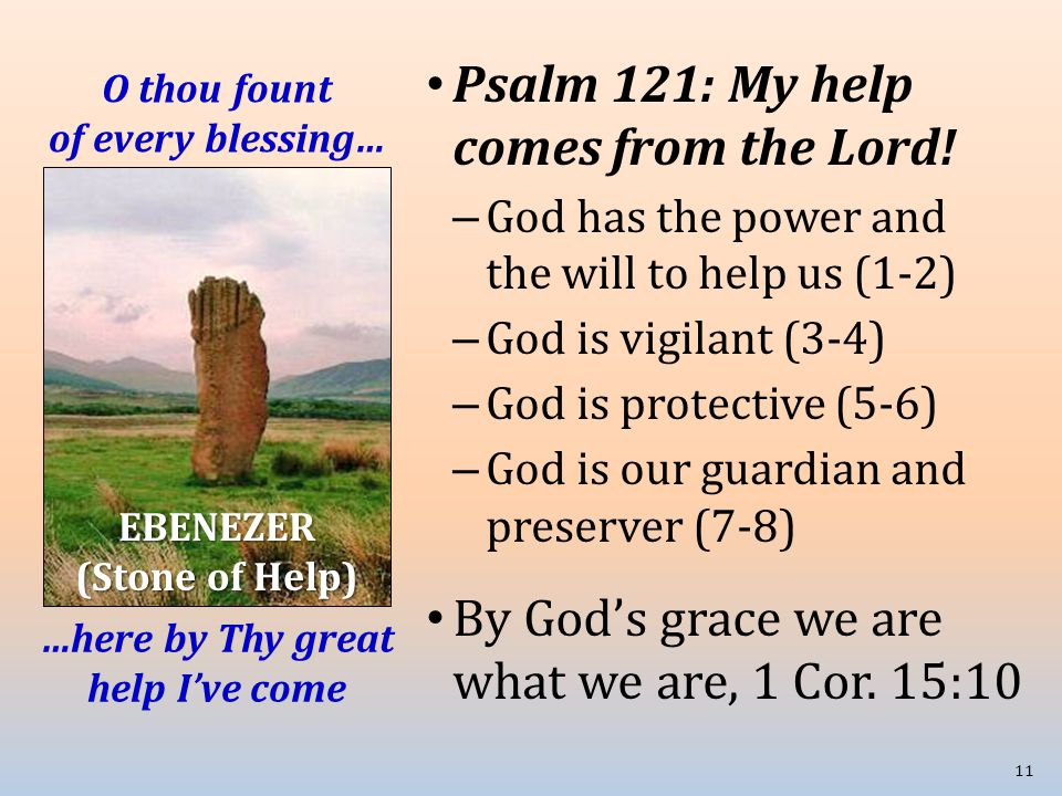 O thou fount of every blessing… Psalm 121: My help comes from the Lord! – God has the power and the will to help us (1-2) – God is vigilant (3-4) – Go
