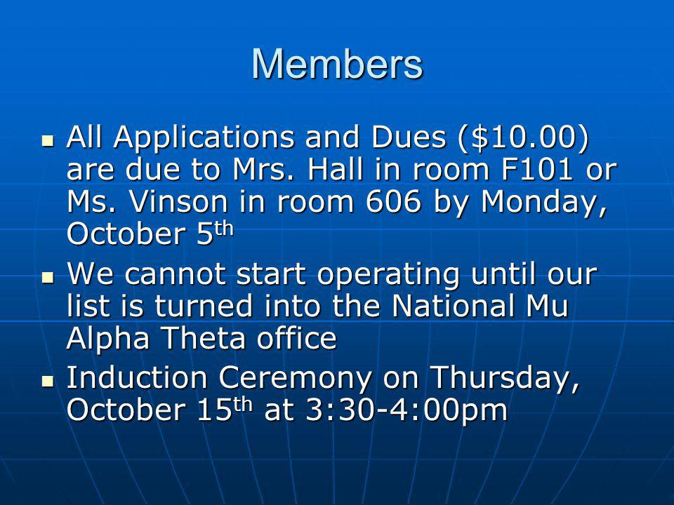 Members All Applications and Dues ($10.00) are due to Mrs.
