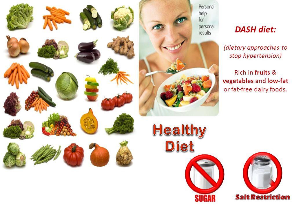 DASH diet: (dietary approaches to stop hypertension) Rich in fruits & vegetables and low-fat or fat-free dairy foods.