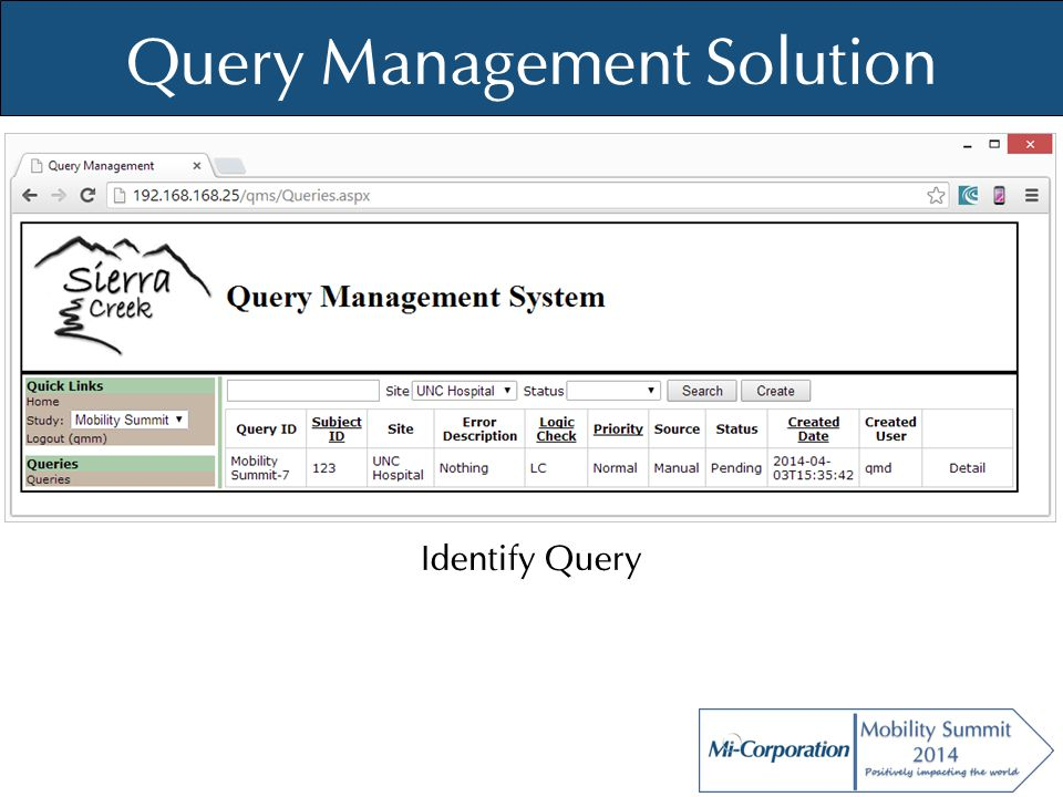© Mi-Co, 2012 Query Management Solution Identify Query