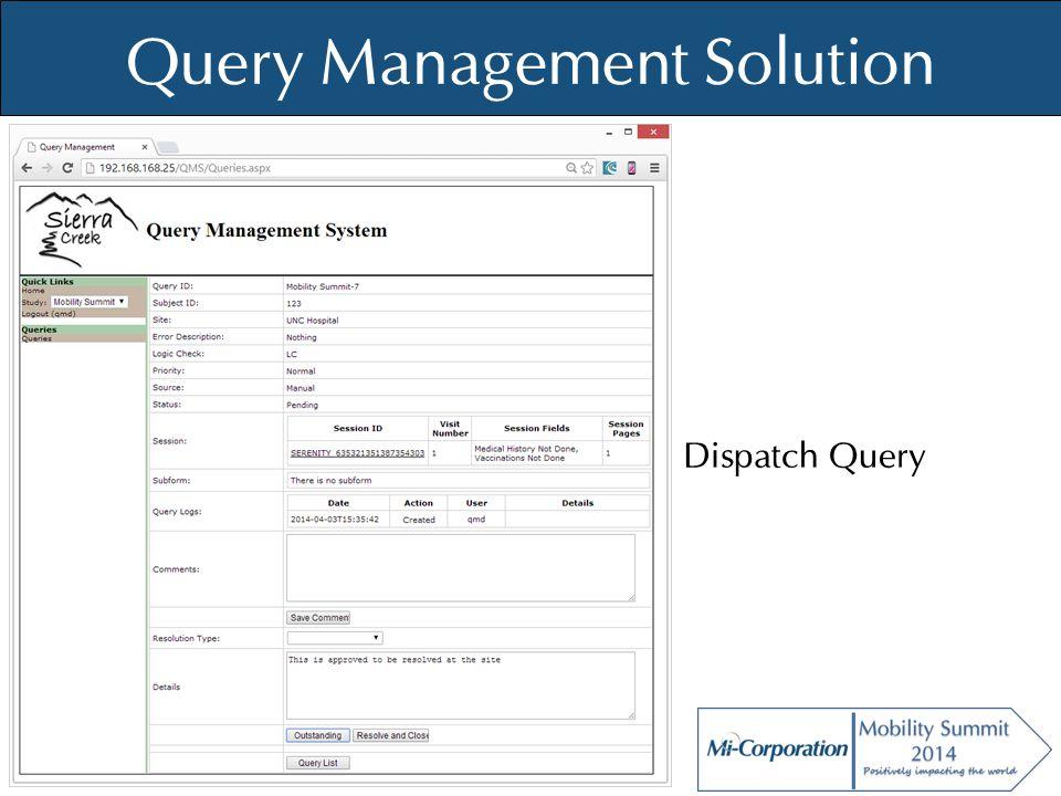© Mi-Co, 2012 Query Management Solution Dispatch Query