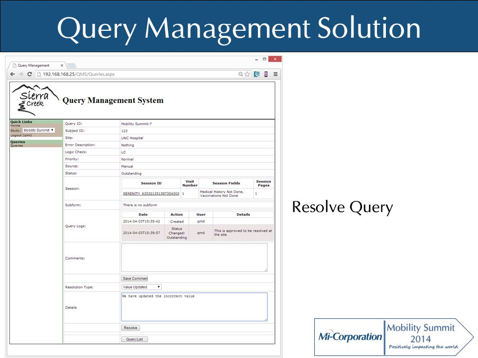 © Mi-Co, 2012 Query Management Solution Resolve Query