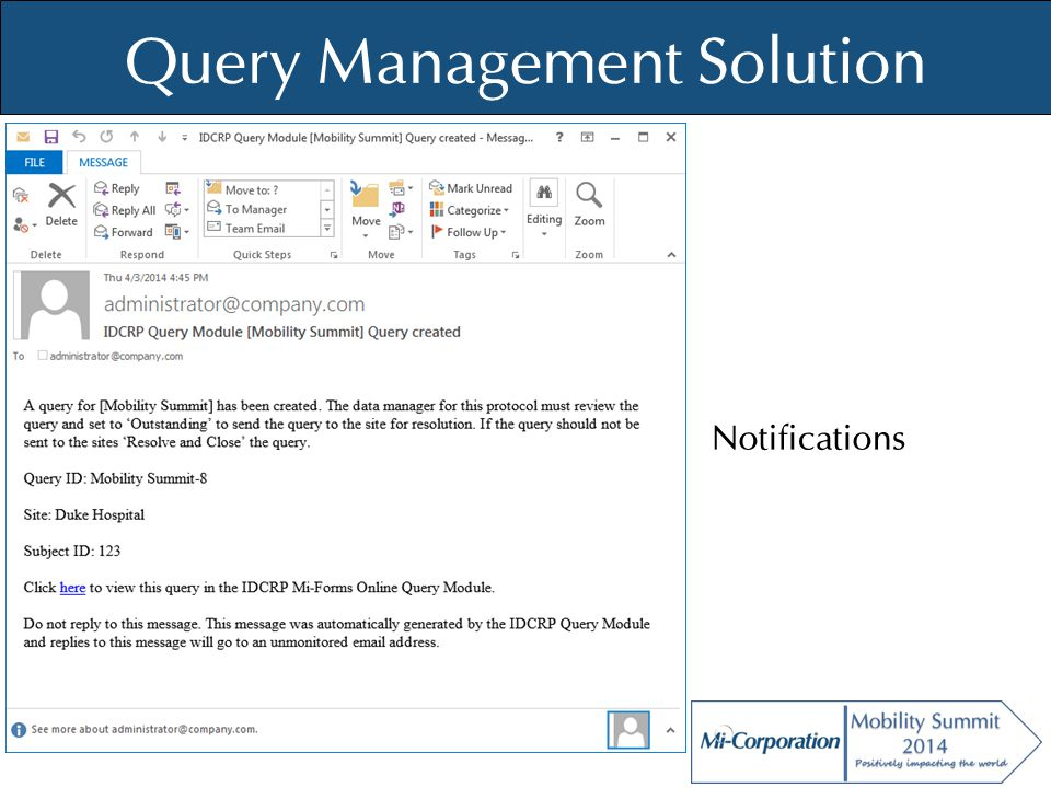 © Mi-Co, 2012 Query Management Solution Notifications