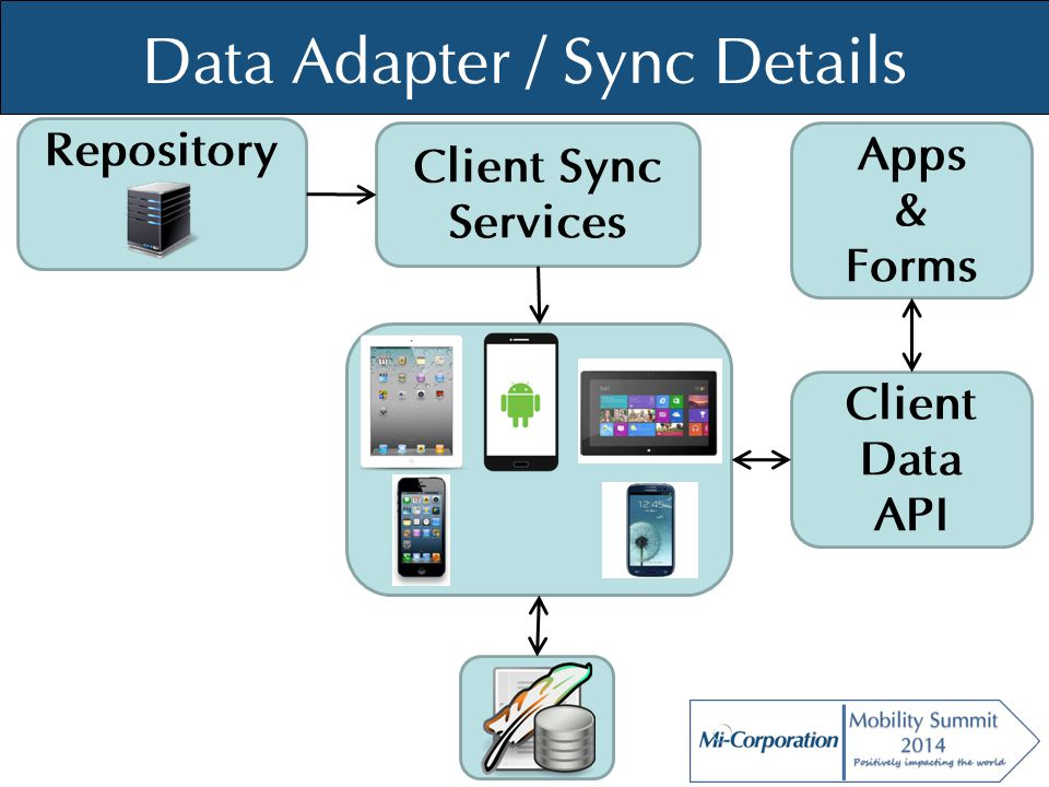 © Mi-Co, 2012 Data Adapter / Sync Details Repository Client Sync Services Client Data API Apps & Forms