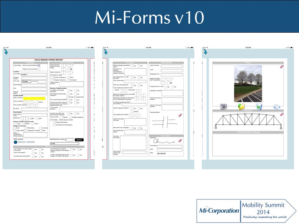 © Mi-Co, 2012 Mi-Enterprise Apps Mi-JS API – Usable in hybrid apps – Usable in Mi-Forms forms (iOS/Android) – Library layer for ease of use Mi-Enterprise Apps server services interface File system, camera, gallery, encryption API interface to improve PhoneGap – Written in TypeScript Both TypeScript & JavaScript distributed