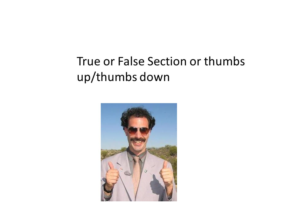 True or False Section or thumbs up/thumbs down