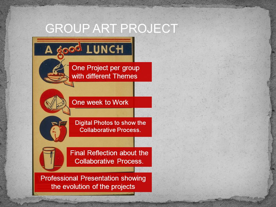 GROUP ART PROJECT One Project per group with different Themes One week to Work Professional Presentation showing the evolution of the projects Final Reflection about the Collaborative Process.