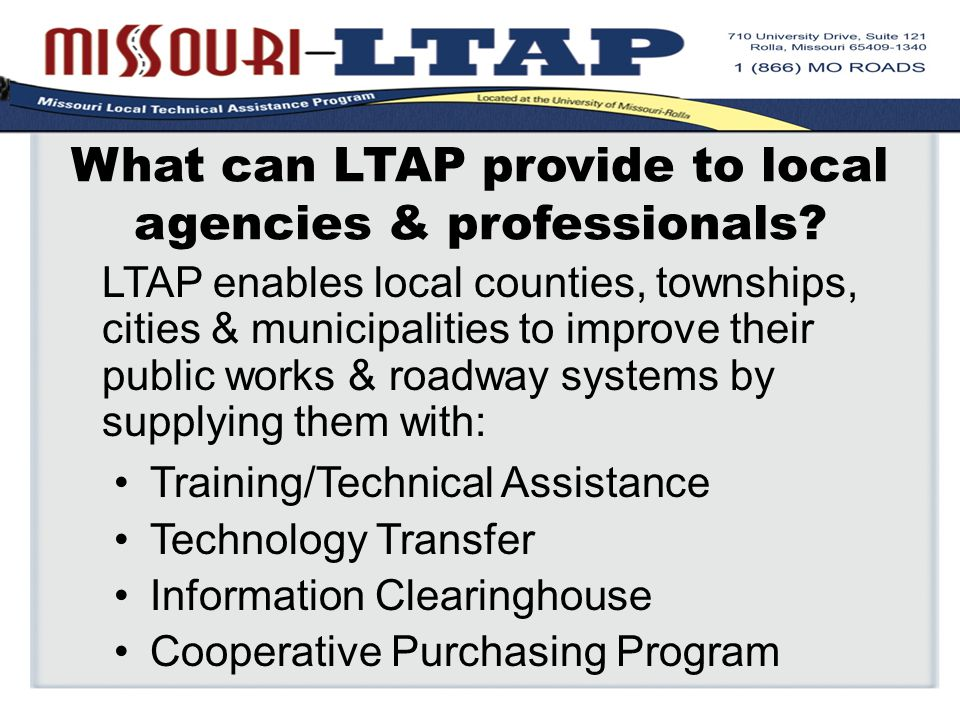 What can LTAP provide to local agencies & professionals.