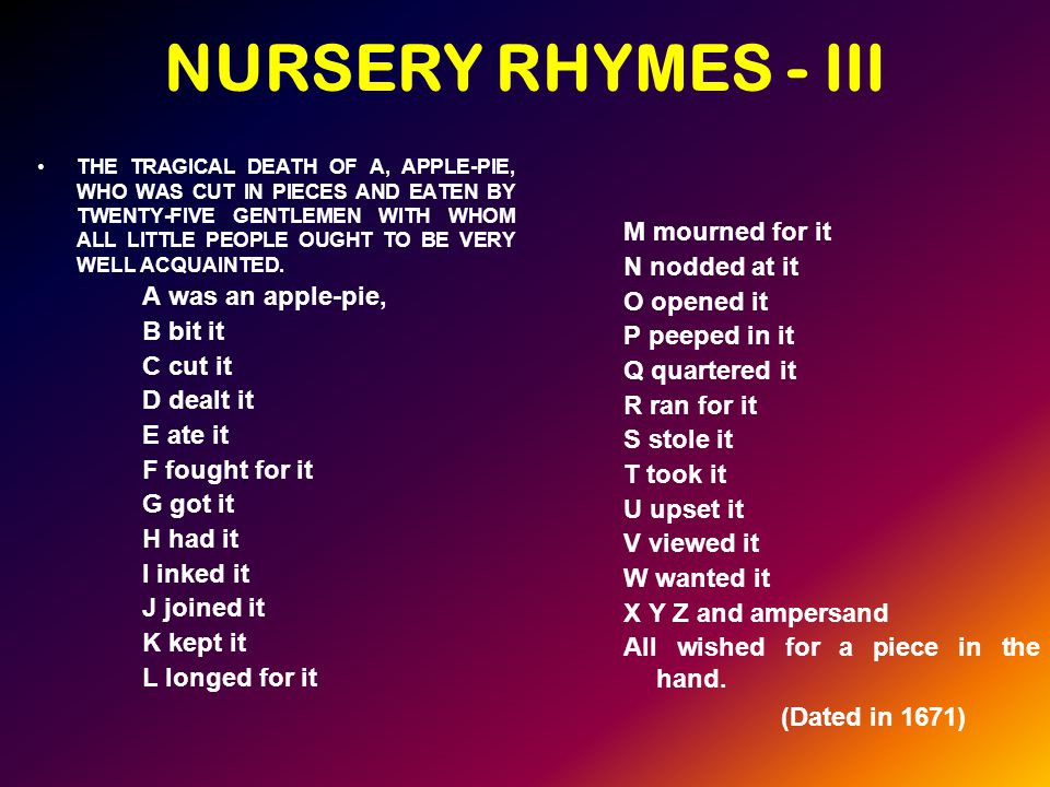NURSERY RHYMES - III THE TRAGICAL DEATH OF A, APPLE-PIE, WHO WAS CUT IN PIECES AND EATEN BY TWENTY-FIVE GENTLEMEN WITH WHOM ALL LITTLE PEOPLE OUGHT TO BE VERY WELL ACQUAINTED.