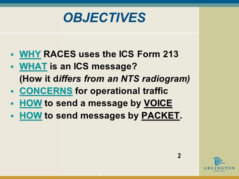 MESSAGE HANDLING USING THE ICS FORM 213 1 Arlington County RACES Basic Operator Course – Unit 3 Copyright (c) 2006 VA RACES, Inc.
