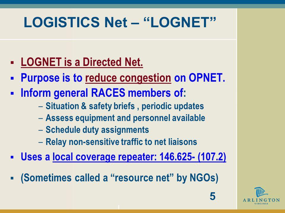 LOGISTICS Net – LOGNET  LOGNET is a Directed Net.