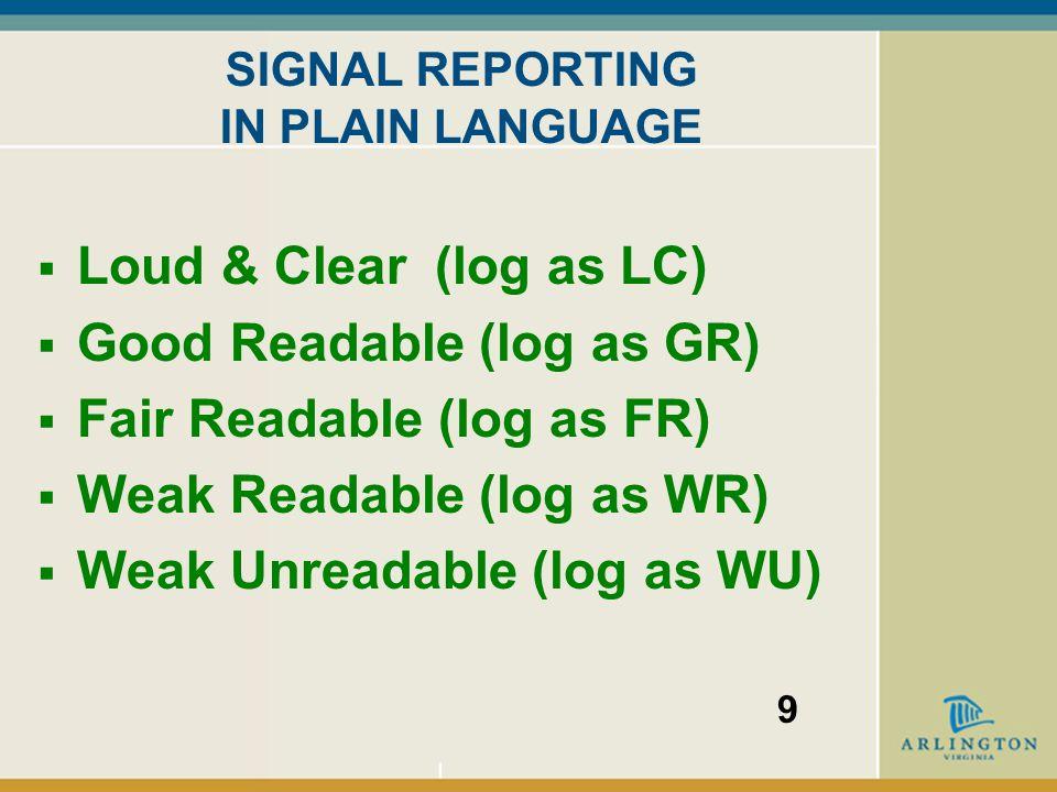 SIGNAL REPORTING IN PLAIN LANGUAGE  Loud & Clear (log as LC)  Good Readable (log as GR)  Fair Readable (log as FR)  Weak Readable (log as WR)  Weak Unreadable (log as WU) 9