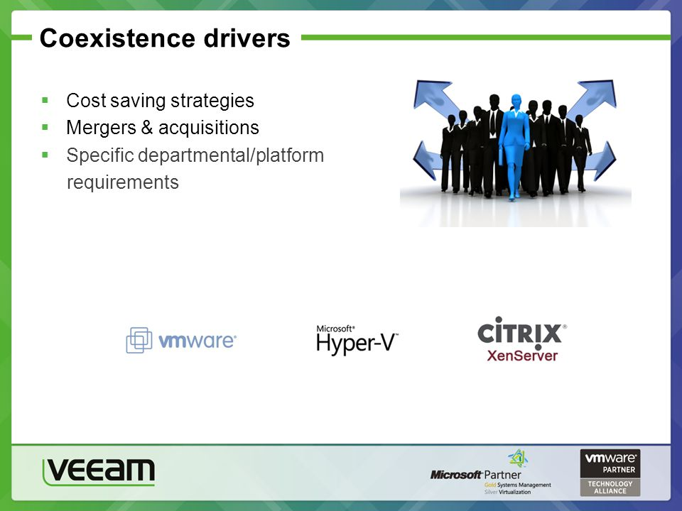 Coexistence drivers  Cost saving strategies  Mergers & acquisitions  Specific departmental/platform requirements